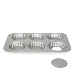 Teglia 6 crostatine fondo mobile Silver Top