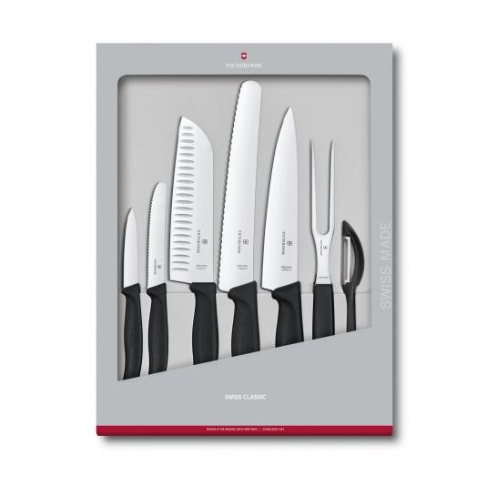 Set di 7 coltelli da cucina manico nero Swiss Classic Victorinox