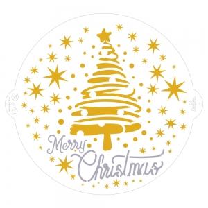 STENCIL MERRY CHRISTMAS TREE & STARS IN PLASTICA 25 CM