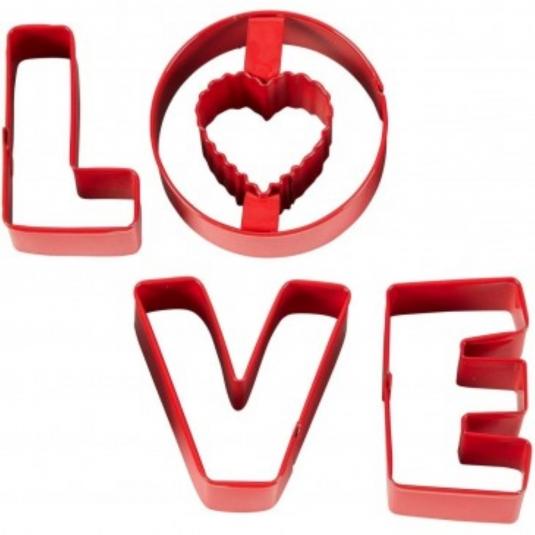 Set 4 Tagliapasta Lettere LOVE