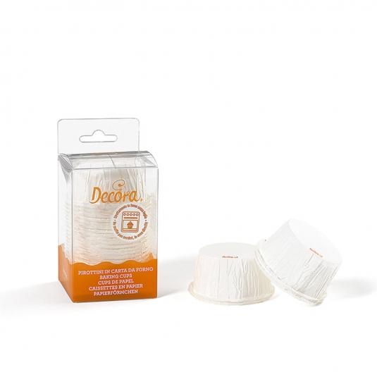 Pirottini muffin increspati bianchi in carta da forno Ø5,5cm H3,5cm 25 pezzi Decora