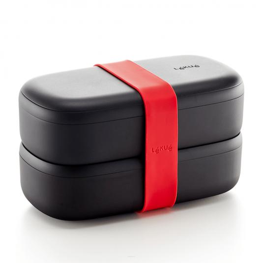 Modifica: Lunchbox To Go nero + set di posate Lékué