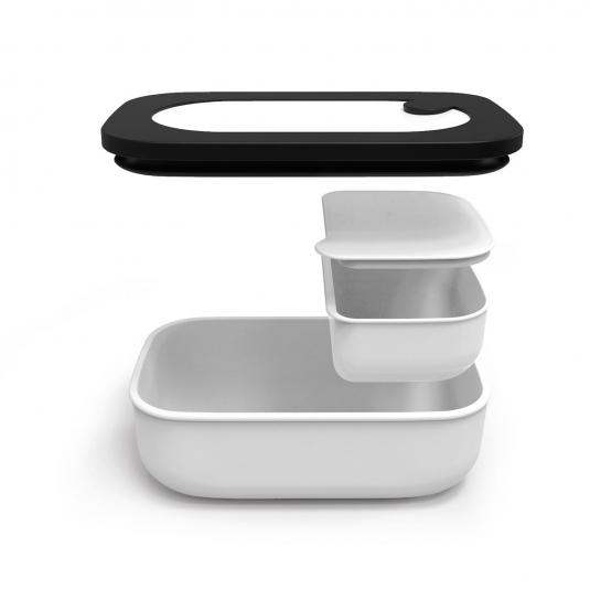 STORE&GO Luchbox ermetico con contenitore interno bianco/nero Guzzini