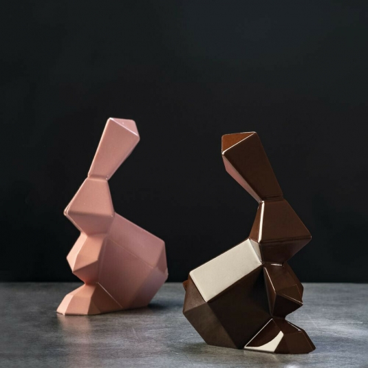 ROCKY ROGER KT185 Stampo termoformato per cioccolato Kit 2 conigli Pavoni
