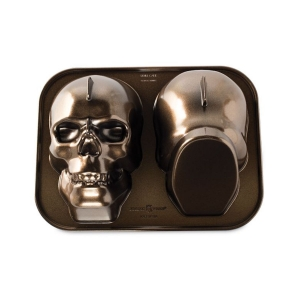 Stampo HAUNTED SKULL CAKE PAN 3D NW88448 2 impronte 9 cups Nordic Ware