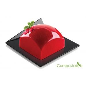 Set 100 Vassoi compostabili monoporzione quadrati 83x83mm neri Silikomart