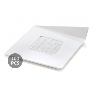 Set 100 Vassoi monoporzione quadrati 83x83mm in plastica bianca Silikomart