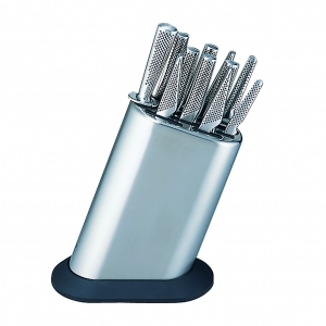 Global G-8311/KB/PLR Set completo di ceppo liscio in acciaio inox e 11 coltelli