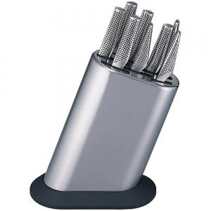 Global G-888/KB/PLR Set completo di ceppo liscio in acciaio inox e 8 coltelli
