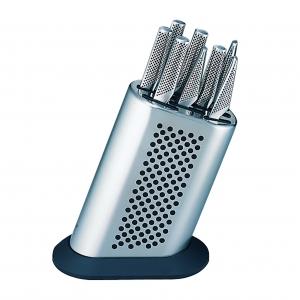 Global G-8311/KB/BDR Set completo di ceppo a pois in acciaio inox e 11 coltelli