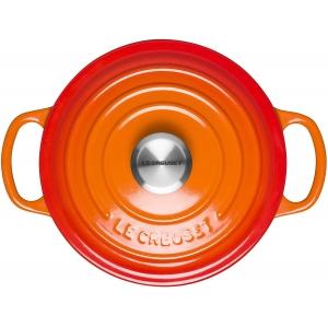 Cocotte rotonda Ø24cm in ghisa vetrificata c/coperchio arancio Evolution Le Creuset