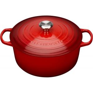 Cocotte rotonda Ø24cm in ghisa vetrificata c/coperchio rosso Evolution Le Creuset