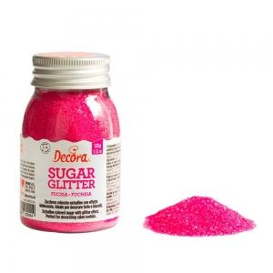 Zucchero glitterato fucsia 100 gr Decora