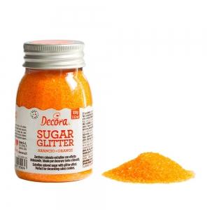 Zucchero glitterato arancio 100 gr Decora
