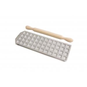 Raviolatore in alluminio 24 cavità quadrate c/mattarello in legno Calder