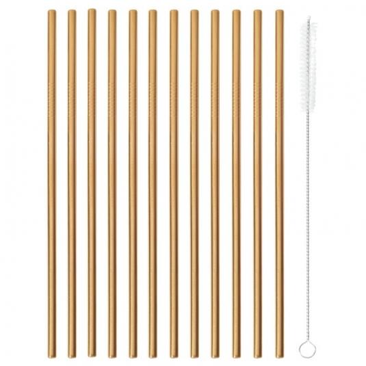 Cannucce color rame - set 12 pezzi in acciaio inox + scovolino Paderno