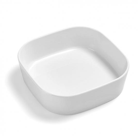 Pirofila Modula quadrata 24x24cm H7cm in porcellana bianca Rosti