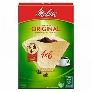 Confezione di 40 filtri 1x6 in carta per caffè lungo Melitta