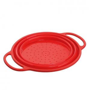 TREND Scolapasta pieghevole in silicone rosso Ø24cm H10,5cm Kuchenprofi