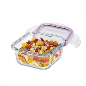Lunchbox contenitore quadrato in vetro/resina S 12x12cm 300ml Kuchenprofi