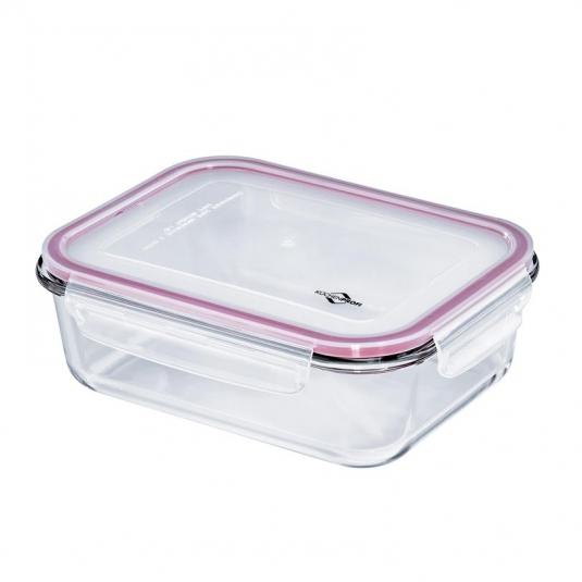 Lunchbox contenitore rettangolare in vetro/resina L 23x17,5cm 1,5L Kuchenprofi