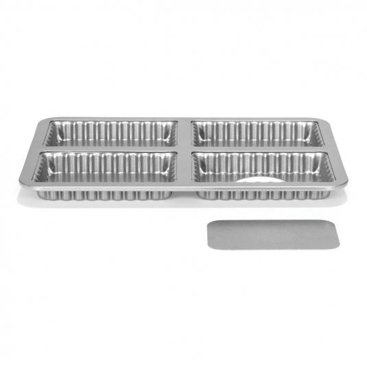 Stampo Quiche Rettangolare Lunga Microforata fondo mobile Silver Top