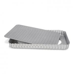 Stampo Quiche Rettangolare Microforata fondo mobile Silver Top