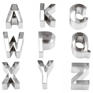 Tagliabiscotti lettere alfabeto A-Z in acciaio inox - set 26 pz Paderno
