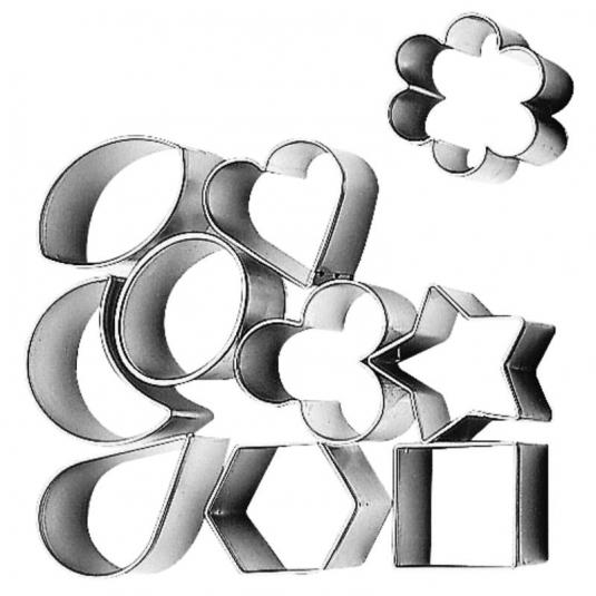 Tagliabiscotti mix di sagome in acciaio inox Ø3,5cm - set 10 pz Paderno
