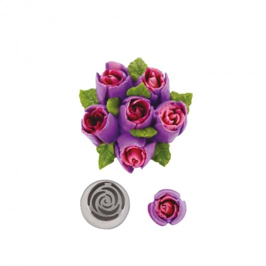 Bocchetta diretta 3D bocciolo di rosa N.243 in acciaio inox Decora