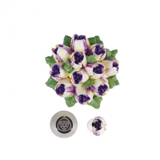 Bocchetta diretta 3D tulipano a 6 petali N.244 in acciaio inox Decora