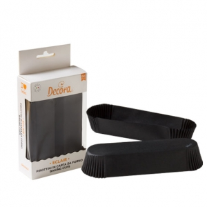 Pirottini eclair neri in carta da forno 13,5x3,5cm H2,5cm 60 pezzi Decora