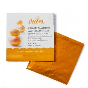 Fogli in alluminio arancione incarta dolci 10x10cm 50gr - conf 150 pz Decora