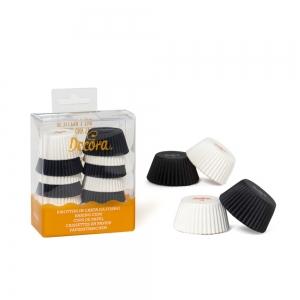 Pirottini muffin bianchi e neri in carta da forno Ø3,2cm H2,2cm 200 pezzi Decora
