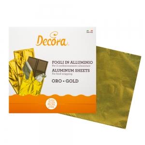 Fogli in alluminio oro incarta dolci 20x20cm 200gr - conf 150 pz Decora