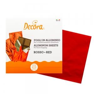 Fogli rossi in alluminio incarta dolci 20x20cm 200gr - conf 150 pz Decora