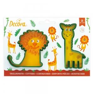Tagliabiscotti GIRAFFA e LEONE in plastica - set 2 pz Decora