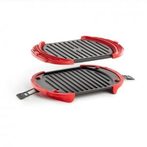 Griglia da microonde 27x20cm acciaio/silicone rosso - set 2 pz Lékué