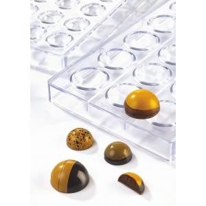 SEMISPHERES MA5007 Stampo in policarbonato 28 cioccolatini semisfere Ø2,5cm Martellato