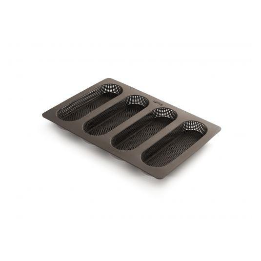 Stampo Mini Baguette in silicone microforato 4 impronte 17x5,3cm Lékué