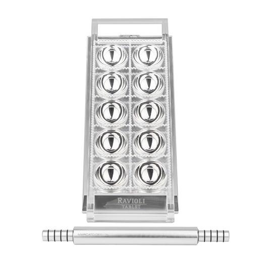 Ravioli Tablet argento Tavoletta per 10 ravioli da 5x5cm c/mattarello incluso Marcato