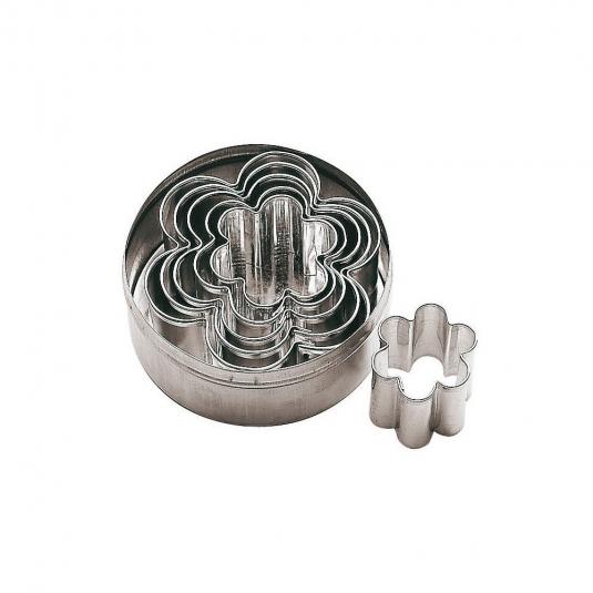 Tagliabiscotti a fiore in acciaio inox - set 6 pz varie misure Paderno